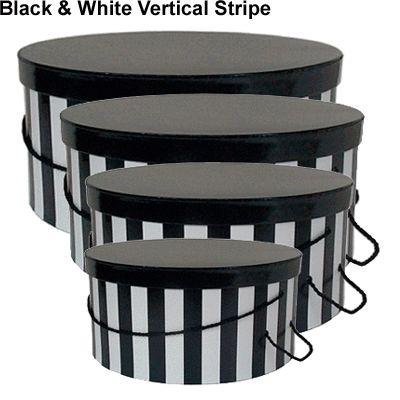 Custom Cardboard Paper Round Hat Box Black White Vertical Strip Box