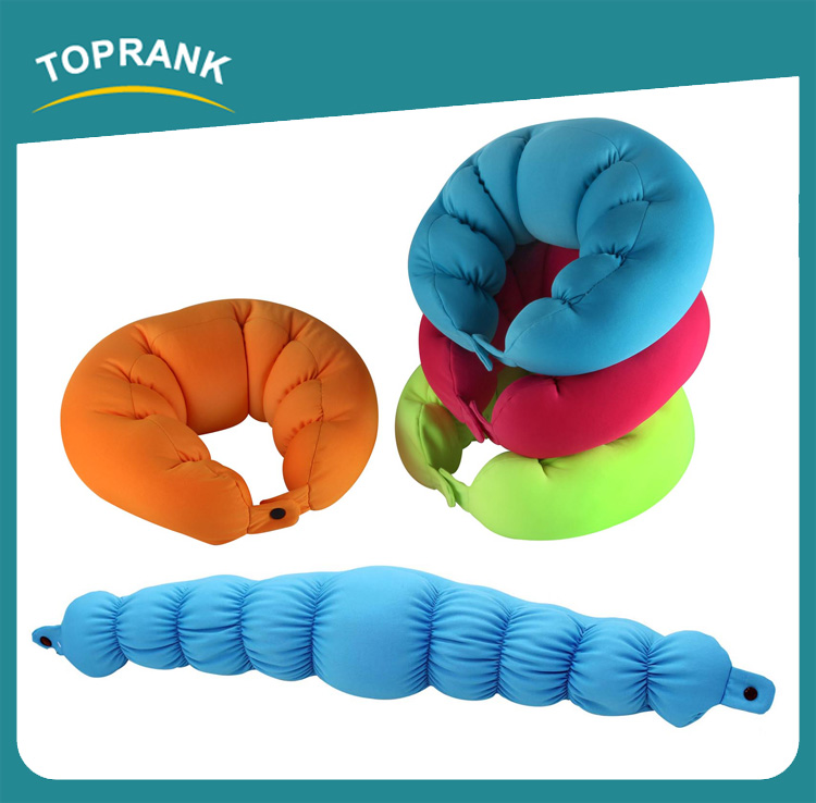 Toprank Perfect Custom Cute Animal Shaped Soft Travel Neck Body Pillow Round Microbead Pillow With Buckle