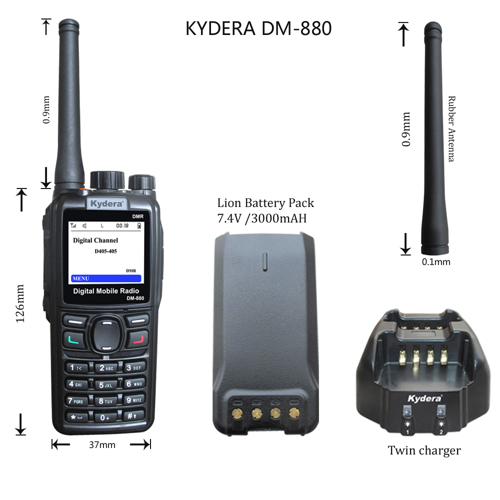 Handheld Digital Dmr Radio 400-480Mhz with GPS&Programming Cable Kydera DM-880
