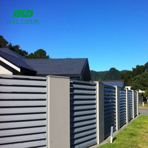custom solar shading electric louvre fence