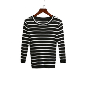 Multi Color Striped 3/4 Round Neck Length Sleeves Ribbed Cuff and Hem Slim Fit Tops Woman Knitwear