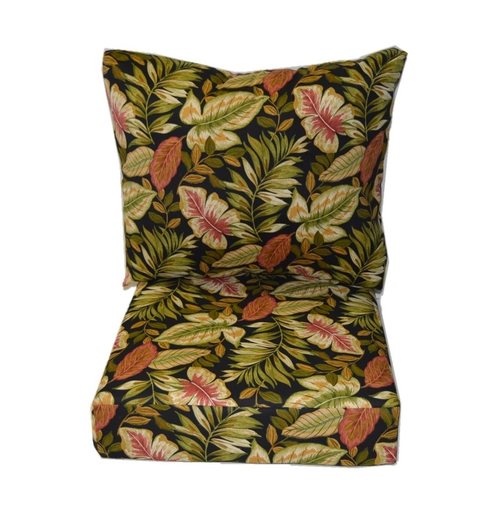 Outdoor Foam Seat Cushions Twilight Black Tropical Set of 4 In Choose Size