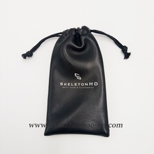 Cheap Imitation Black PU Leather Jewelry Bag With Drawstring