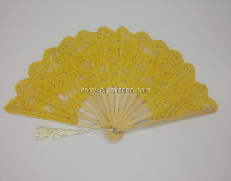 European fashion nice quality colorful handmade ladies lace fan for wedding party and events