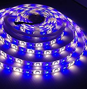 5m Dc 12v Rgb+w Rgbw Flexible Led Strip Lights 5050 SMD 300led Waterproof RGB Cool White LED Tape Light Kit with 40 Keys Controller and Power Adapter White Tape Version (White PCB RGB+W)