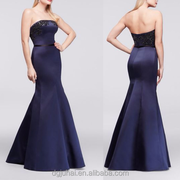 New Style Long Strapless Satin Gown Party Evening Dresses with Appliques Made In China