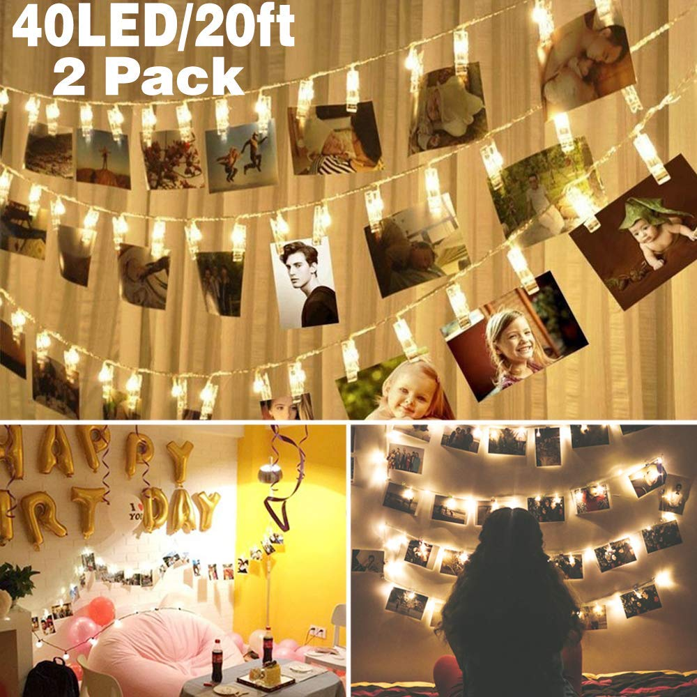 2 pack Halloween Decoration 40 LED Photo Clips String Lights Battery Operated Waterproof 20ft Fairy Light Long Lasting Indoor Girls Bedroom Hang Picture Outdoor Wedding Party Christmas Birthday Gift