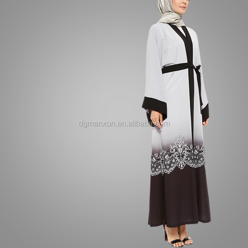 Fashion Long Sleeve Printing Kimono Abaya Hot Sell Muslim Abaya Designs