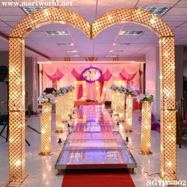 2017 hot sale 41 inches silvergold crystal led pillars columns with changeable light for