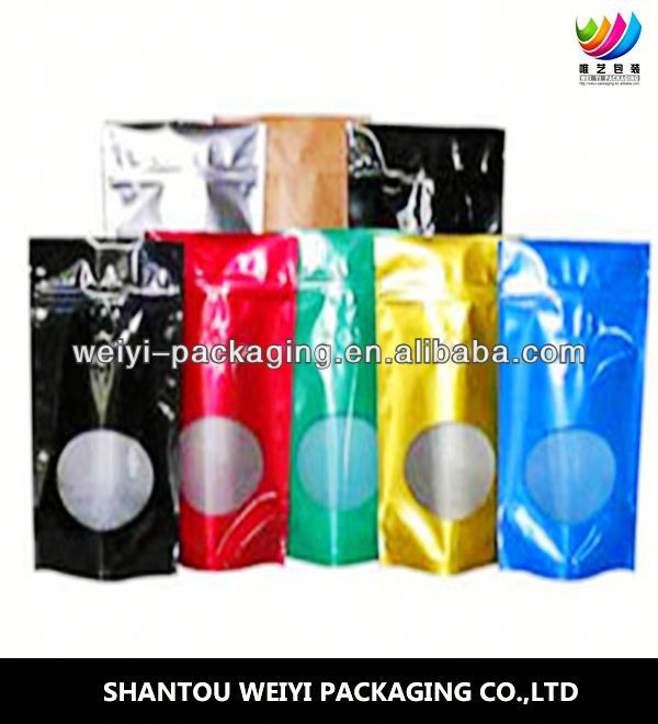 aluminum foil silver color ziplock mylar bag/ stand up zipper lock food pouch for whey protein poweder
