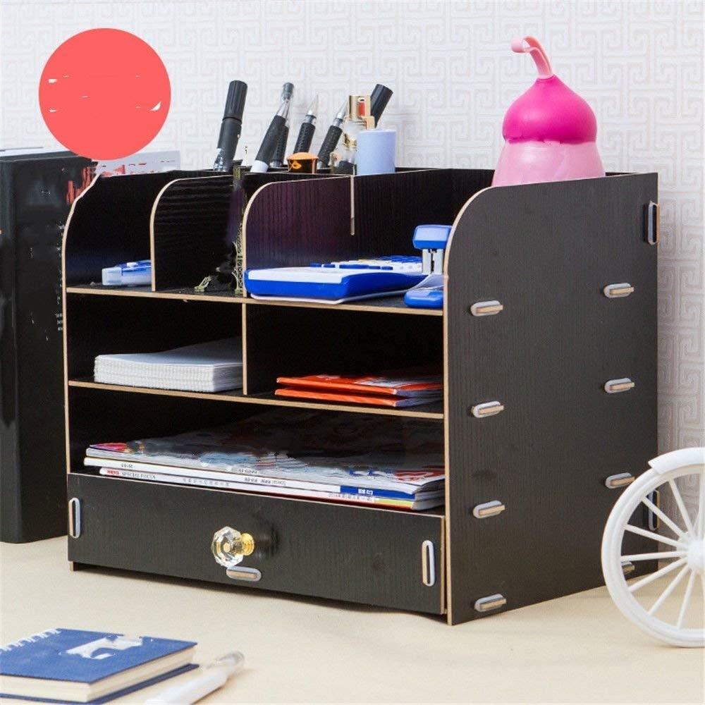 Office Supplies Desktop File Storage Box Creative Wooden Multilayer Book Stationery Box Debris Drawer Storage Rack,Black