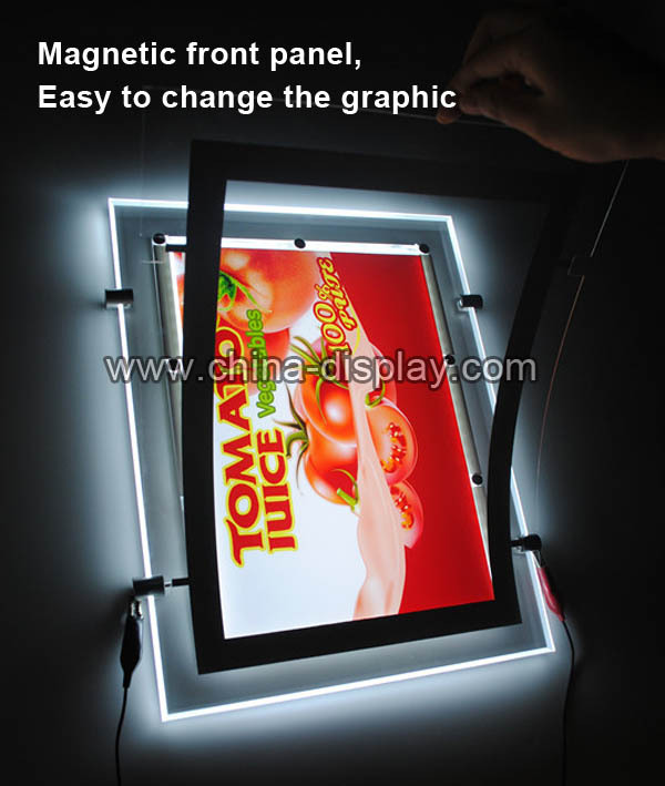 high lumen ceiling hang acrylic paneled edge lit acrylic light box