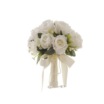 Romantic 22x31cm Artificial White Ivory Flowers Bridal Hand