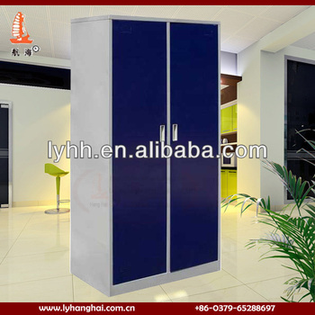 Home Bedroom Furniture Dark Blue Color Steel Indian Wardrobe Designs