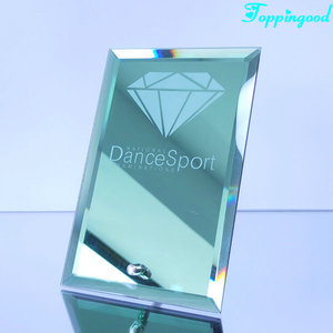 Green Color Mirror Glass Award Plaque For Home Decoration
