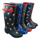 Youth Junior Women Rain Boots Wellies zip up wellingtons rubber galoshes