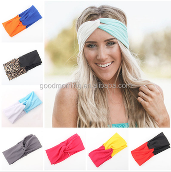 7fde7a244df1 Woman Stretch Twist Turban Headband Sport Yoga Headbands for Women Leopard  hijab Headscarf Bandana Girls Hair