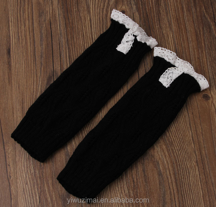 Fashion acrylic baby leg warmers with ruffle cute infant toddler knitting lace christmas leg warmer