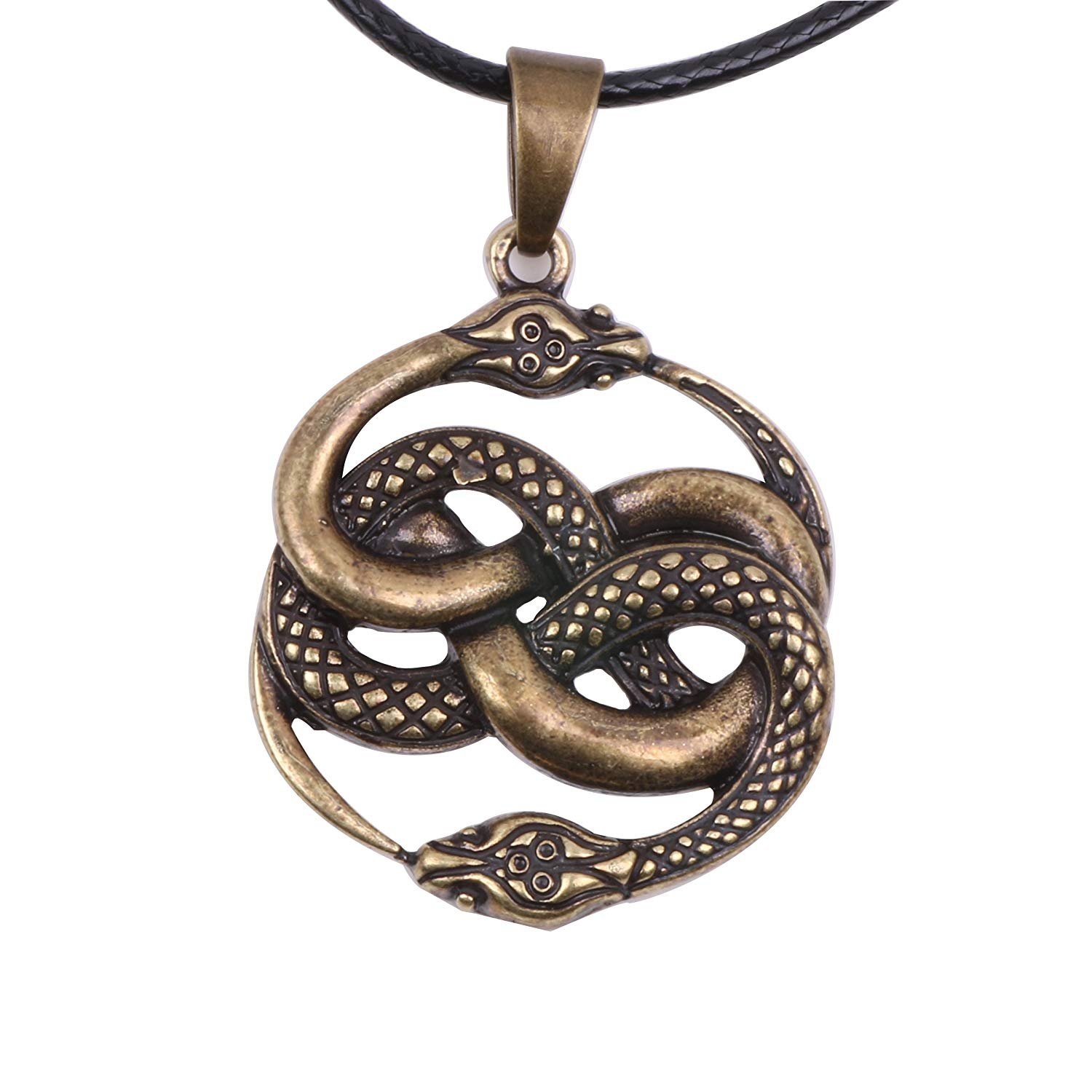 Sterling Silver Ouroboros Serpent Snake Eternal Cycle Pendant Necklace