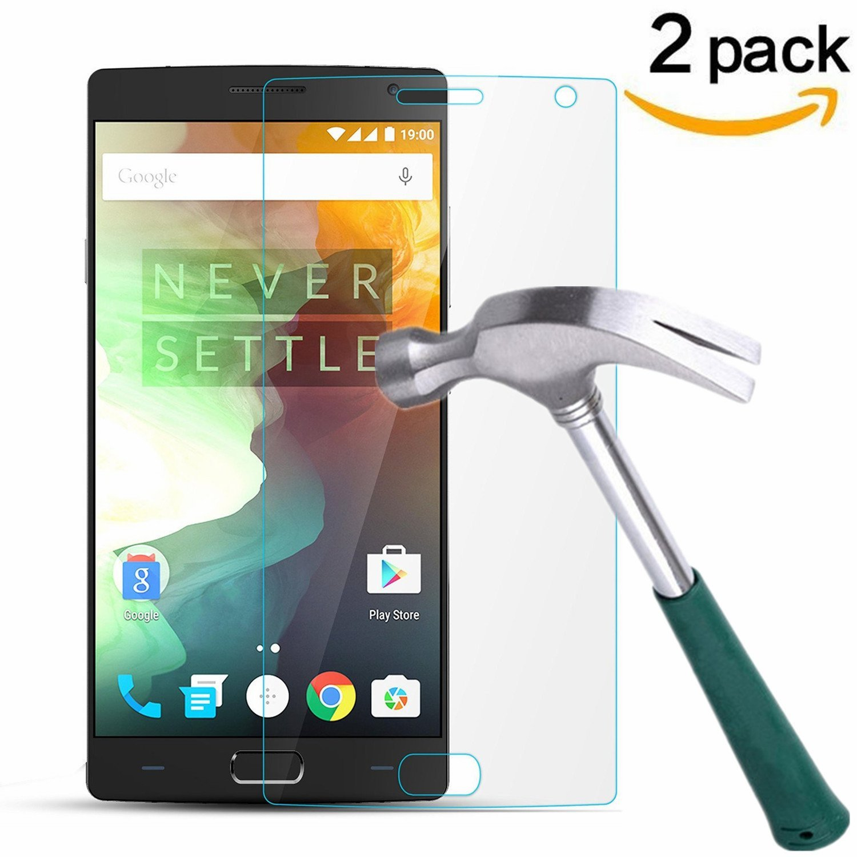 OnePlus 2 Screen Protector, TANTEK [Bubble-Free][HD-Clear][Anti-Scratch][Anti-Glare][Anti-Fingerprint] Tempered Glass Screen Protector for OnePlus 2 [2015 Model],[Lifetime Warranty]-[2Pack]