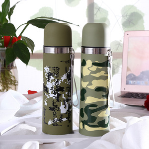 Factory 500ML New Army Green Food 304 Stainless Steel thermos Coffee Mug Vacuum Flask with Strap Wholesale