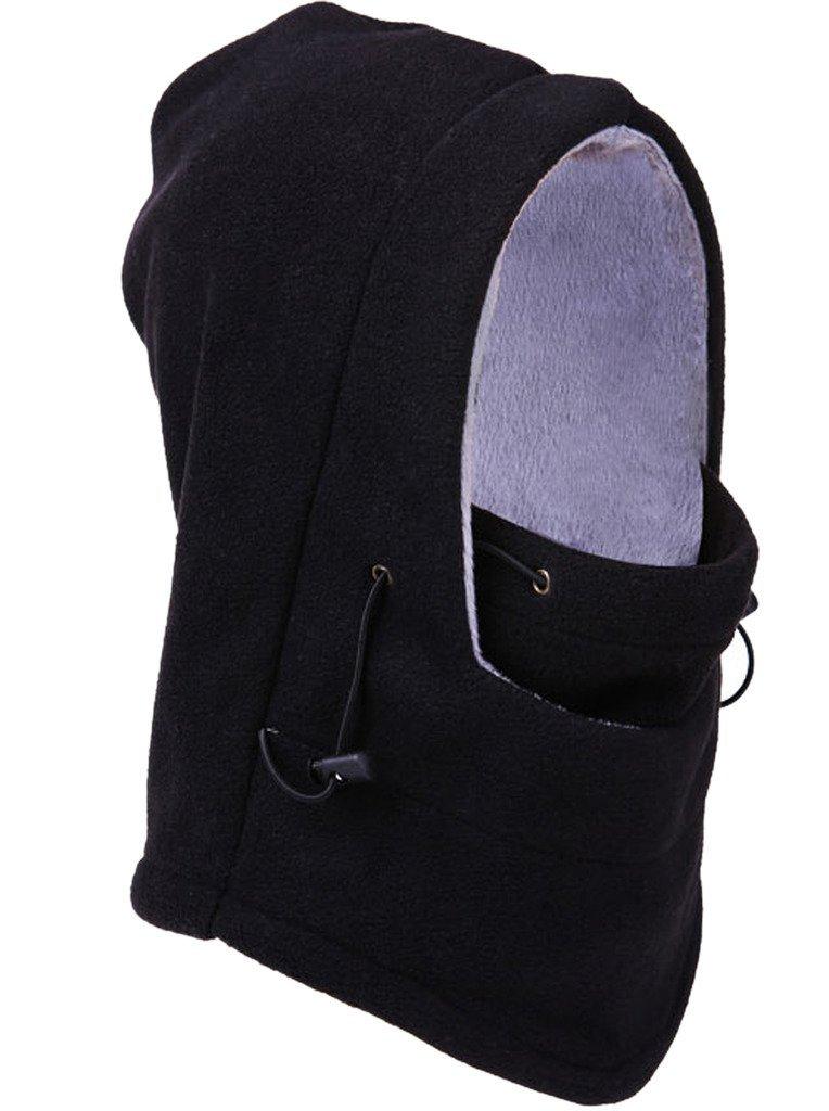 Bigood(TM) Thick Wool Outdoor Hooded Hat Windproof Cap Headcover Scarf Black