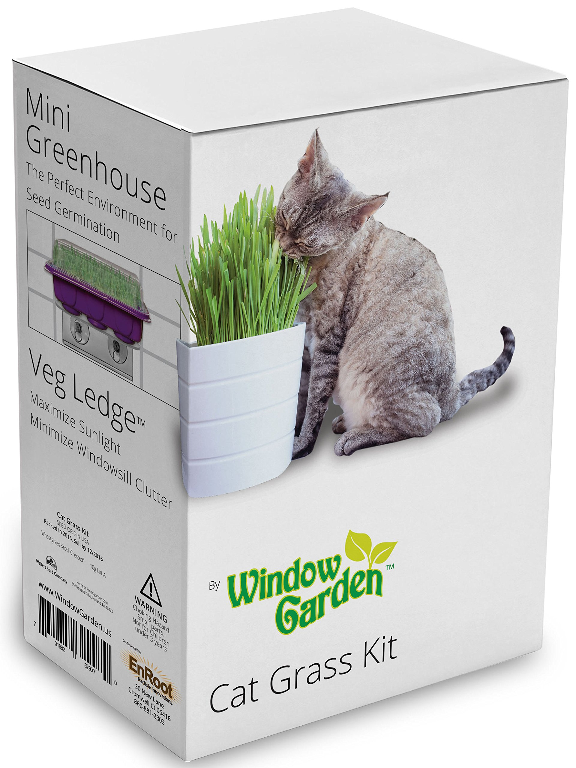 Window Garden Cat Grass Kit for Growing your Cat a Healthy Treat! Includes the Popular Space Saving Veg Ledge Suction Cup Window Shelf and Mini Greenhouse. Super Easy, Cat Lover Gift for All Ages.
