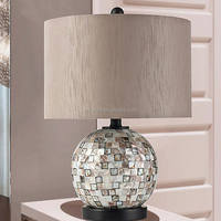 Mediterran Antique Conch Craft Shell Table Desk Lamp With Handmade Mosaic With Switch