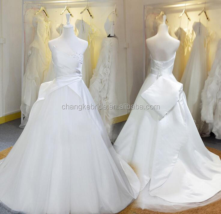 2016 Designer White Lace Satin A line Strapless Beading Wedding Dress Bridal Gown Custom Made With Lace Up Back