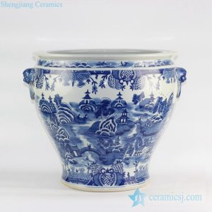 RYLU120 Jingdezhen design oriental scenic view pattern hand drawn blue and white large porcelain vintage pot with lion handles