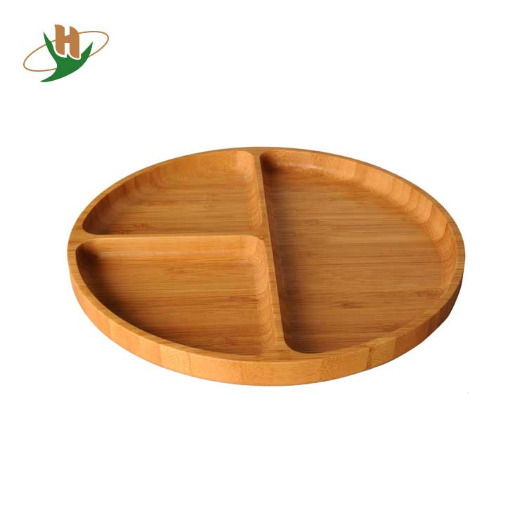 3 divided compartment recycle platter round food bamboo tray <strong>plate</strong>