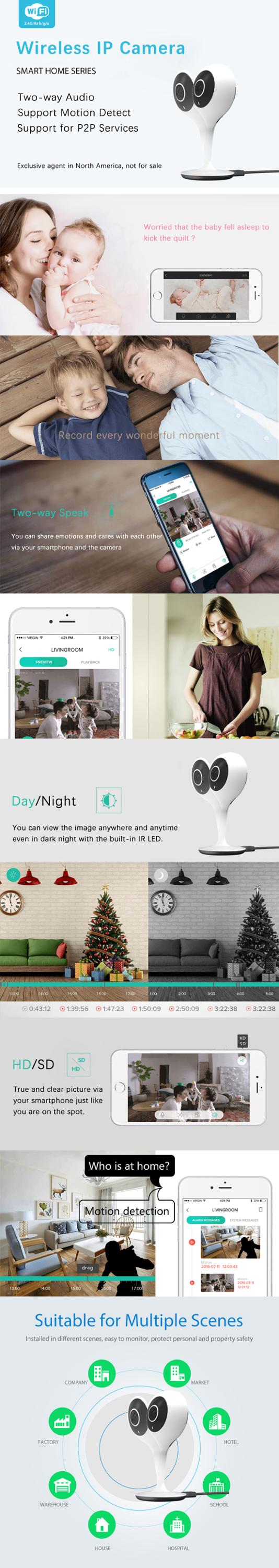 Wireless WIFI Controlled Mini IP Network Camera Surveillance Compatible with Tuya APP P2P Service and Smart Life System