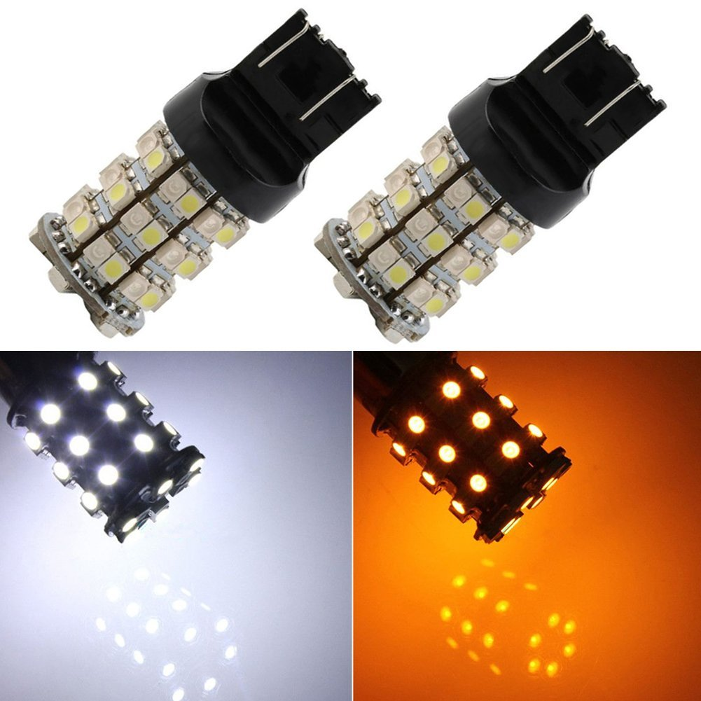 TABEN 7443 7444NA 7440 7440NA Dual-Color Switchback White/Amber 60-SMD-3528 LED Bulbs Turn Signal Light Bulb 12V (Pack of 2)