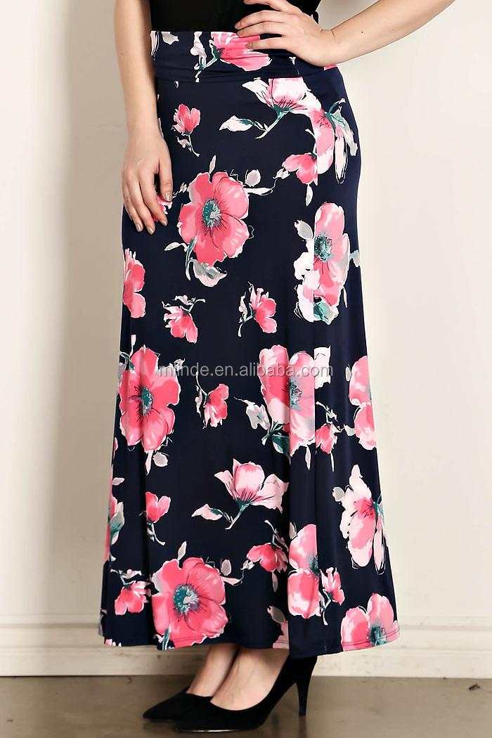 d04188a4f Latest Formal Blusa Saia Combinando Padrões de Flores de Poliéster Floral  Impressão Maxi Plus Size Mulheres