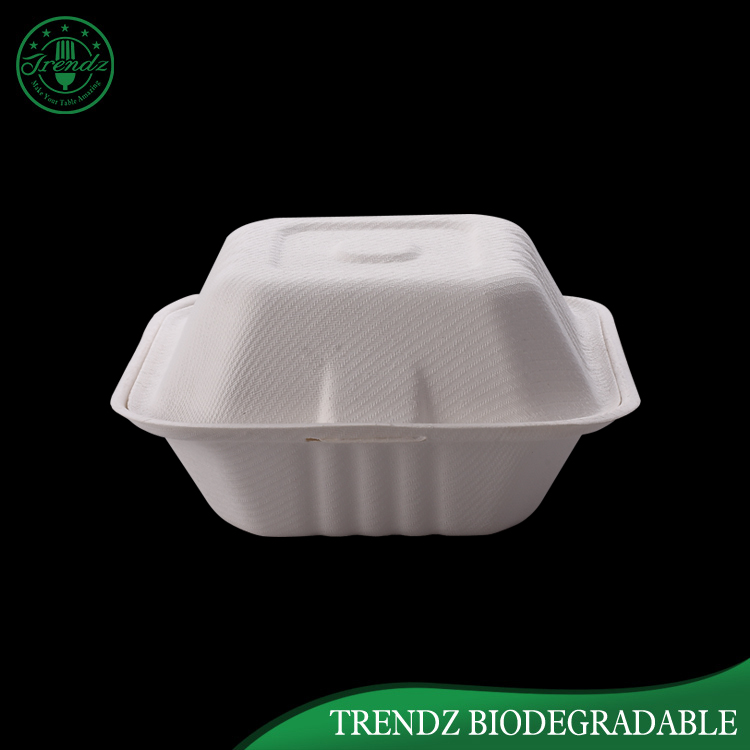 Embossing leakproof Sugarcane bagasse food container box paper bento lunch box