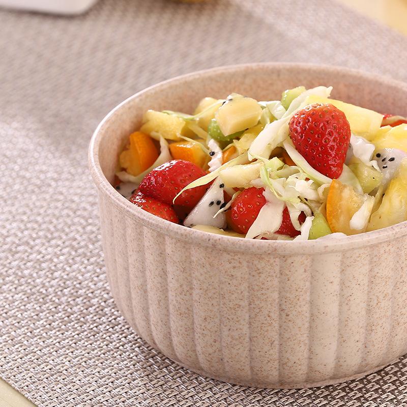 Eco Friendly Food Grade Unbreakable Bpa Free Ramen Soup Bowl Lid Wheat Straw Biodegradable Salad Bowl