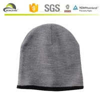 Grey cheap knitted long beanie hats with white lace