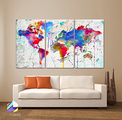 "Original by BoxColors Large 30""x 60"" 3 Panels 30x20 Ea Art Canvas Print Map world watercolor Abstract Colorful Wall decor Home interior Decoration (framed 1.5"" depth)"