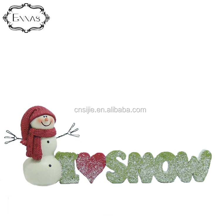 Resin figure  of I love snow with snowman Christmas decoration supplies