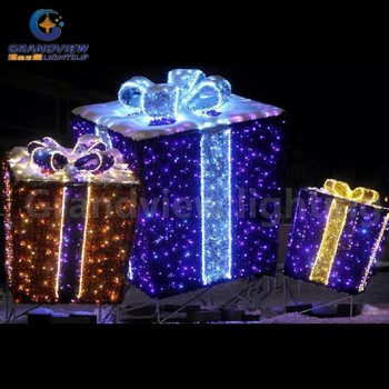 Outdoor christmas gift box lights