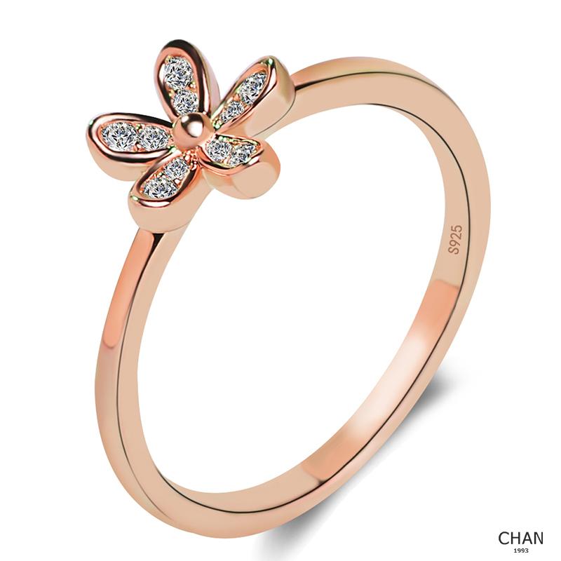fc9754528728 Último diamante anillo flor anillo de las mujeres nuevo barato 14 K chapado  en oro rosa