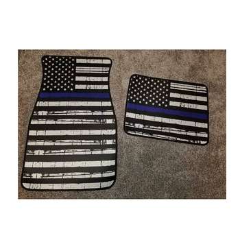 Wholesale Personalized Graphic Accent Thin Red Blue Line Flag Car Mat