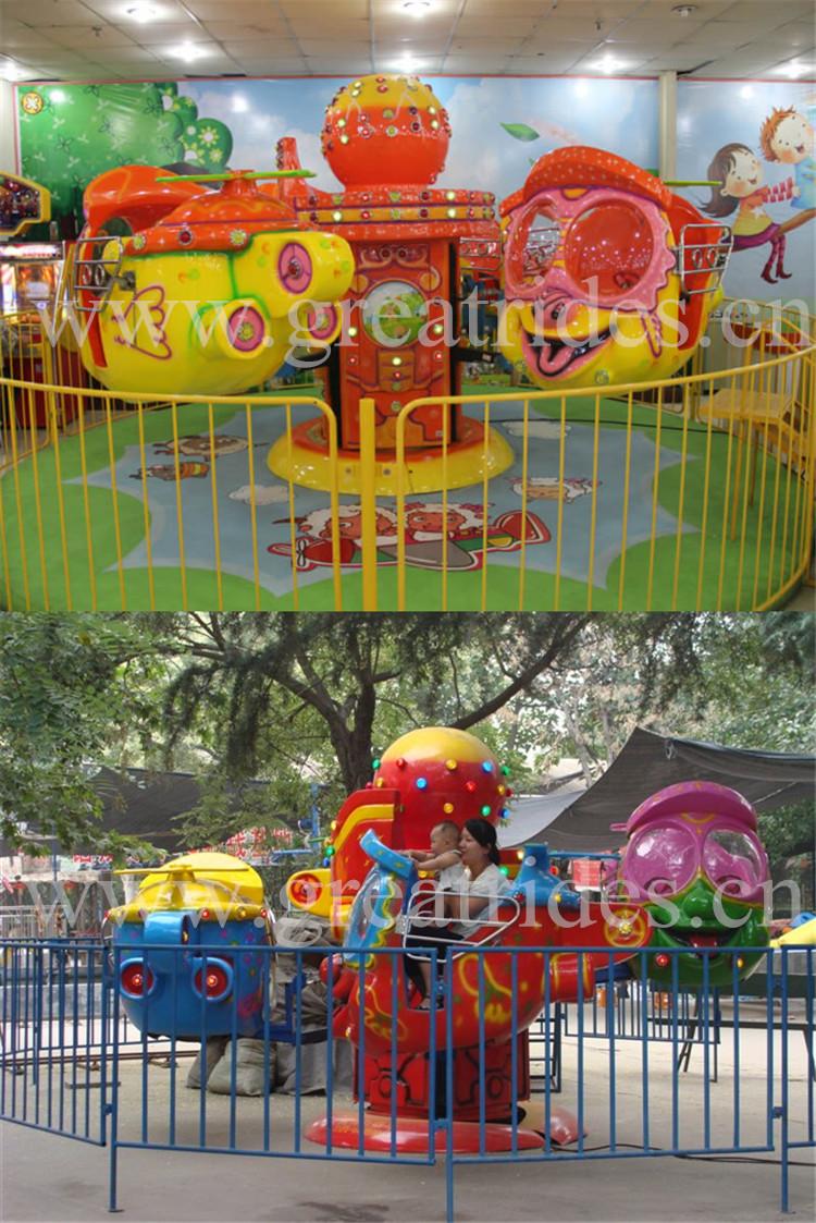 Engraçado interior do parque de diversões passeios pequenos olho grande avião máquina de jogos para crianças