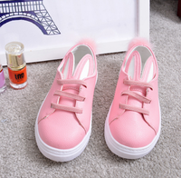 2017 autumn and winter new girls Korean flat shoes children casual rabbit ears shoes