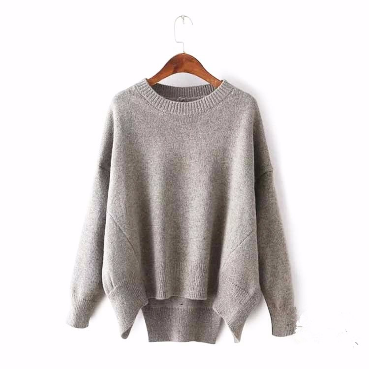 2016 Plain Knitted Sweater Woman European Size Fashion Design ...