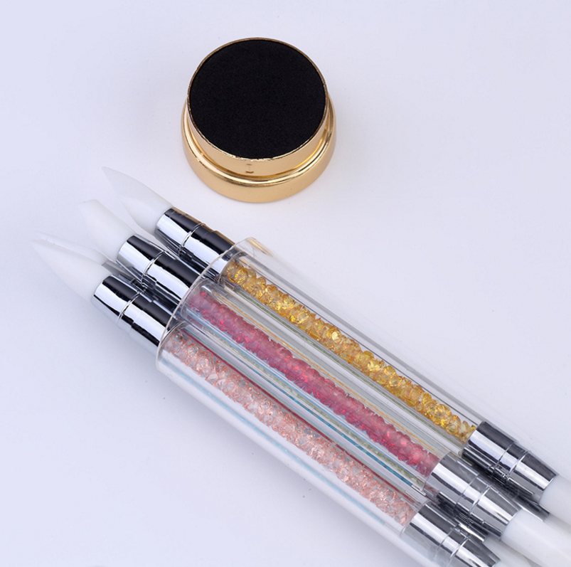Nail Art Design Beauty Clay Sculpture Rhinestone Nail Art Painting Design Rubber Tip Nail Art Silicone Pen