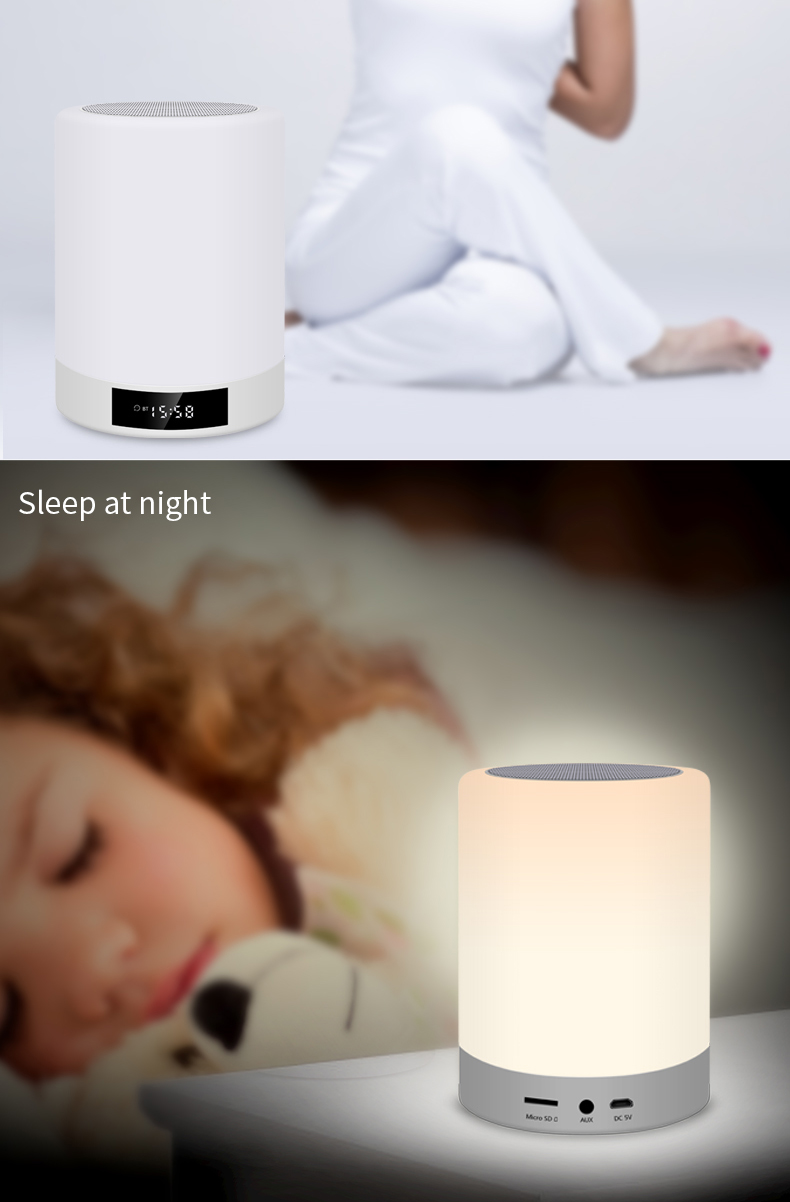 Kinghal Colorful Light Portable LED Lamp Speaker Handsfree Sound Box with Alarm Clock Function for Home