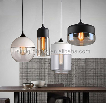 Modern Black Color Gl Lampshade Mini Pendant Lamp With Edison Bulb