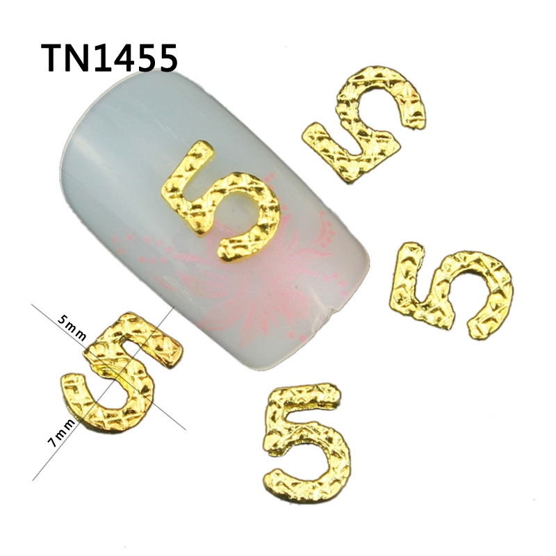 Blueness 10Pcs NO 5 Design Gold Silver Color Alloy Manicure For Tips Nails 3D Number 5