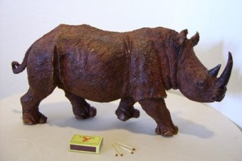 Wildlife Carvings African Rhino Buy Wooden Carved